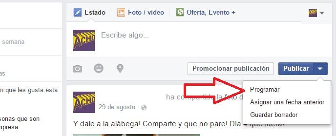 programar una publicacion en facebook 3