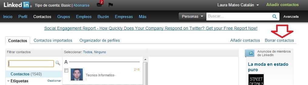 Borrar contactos de LinkedIN