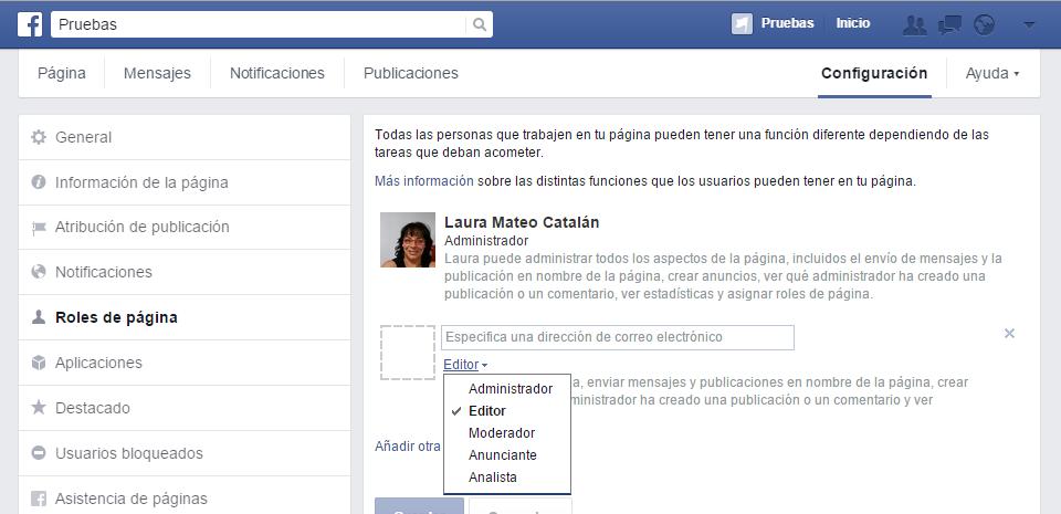 nombrar administrador en página de Facebook