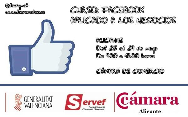 Curso Facebook aplicado a los negocios en Alicante con Laura Mateo. Cámara de Comercio y SERVEF