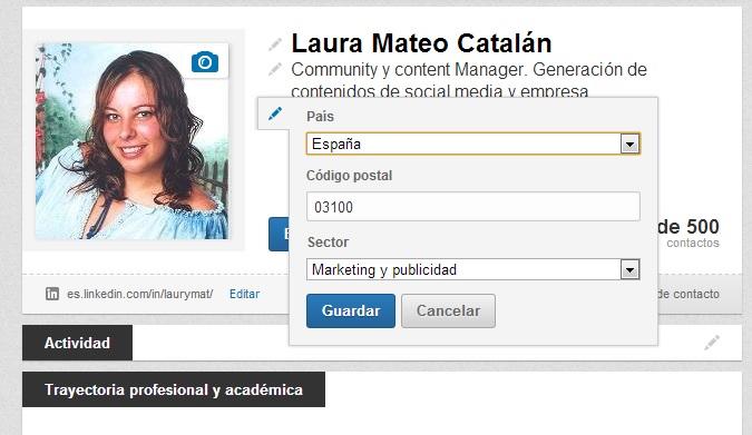 Código postal que aparezca que eres de Alicante en Linkedin