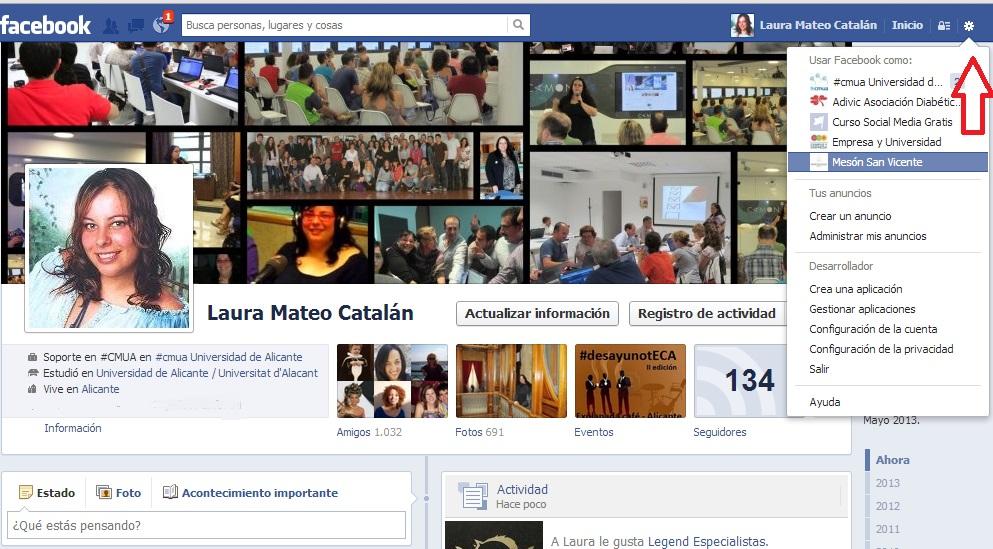 Nombrar administrador página de Facebook. Paso 1. Laura Mateo.