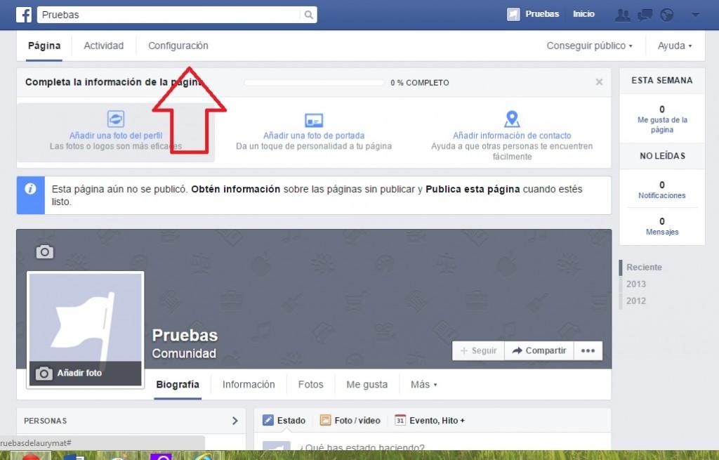 eliminar una página de facebook paso1