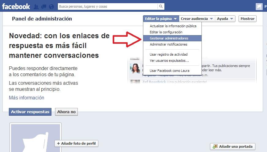 Nombrar administrador página de Facebook, paso 2