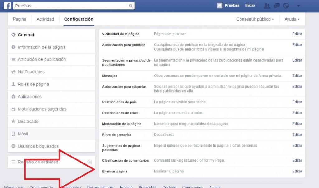 eliminar página de facebook paso2