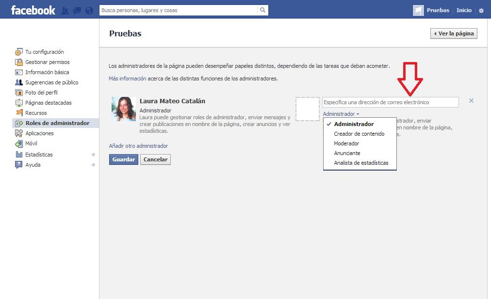 Nombrar administrador página de Facebook. Paso 3.
