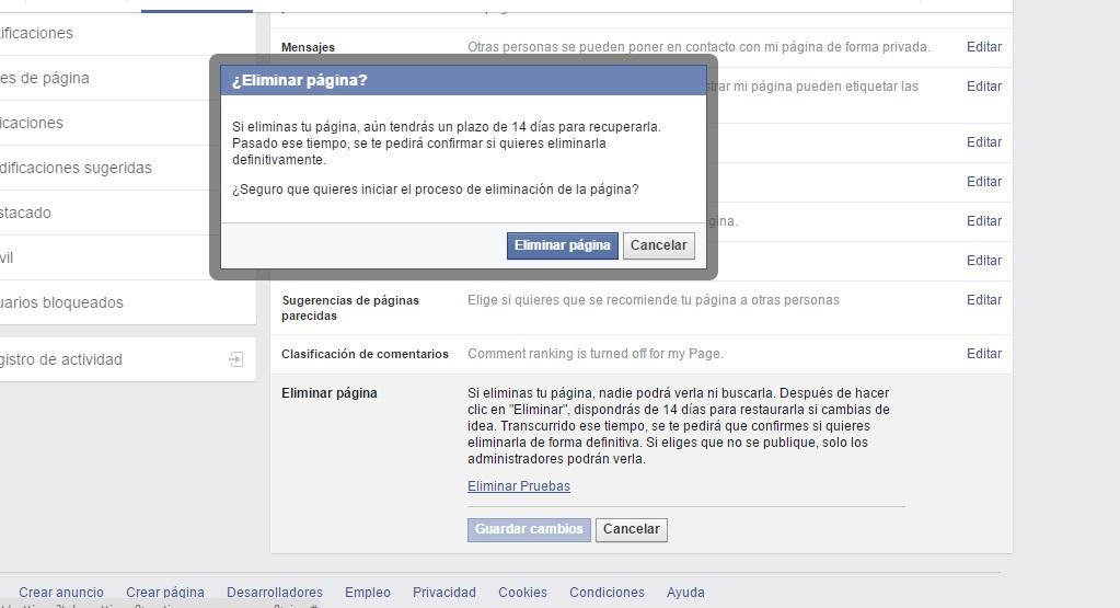eliminar página de facebook paso4