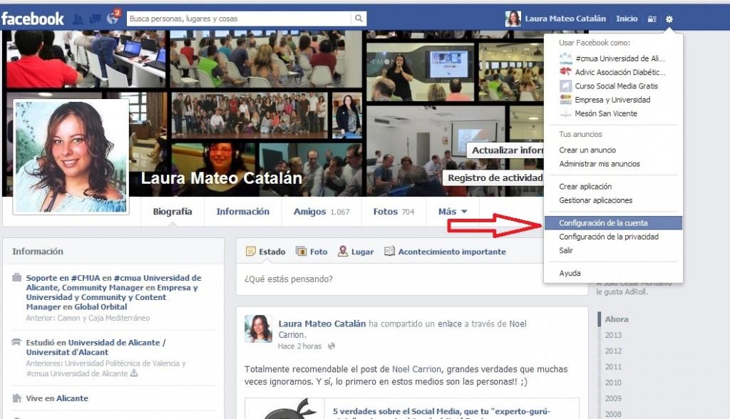 Cambiar mail de acceso a Facebook