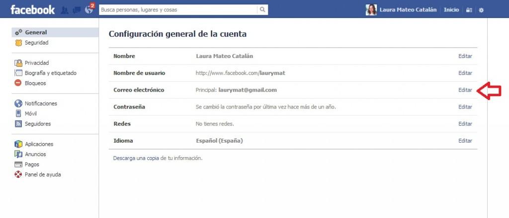 Cambio mail acceso Facebook