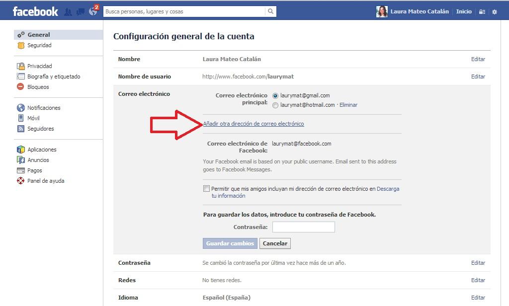 Cambiar el mail de acceso a Facebook