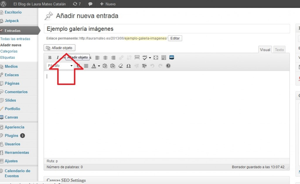 Insertar objeto en un post de wordpress