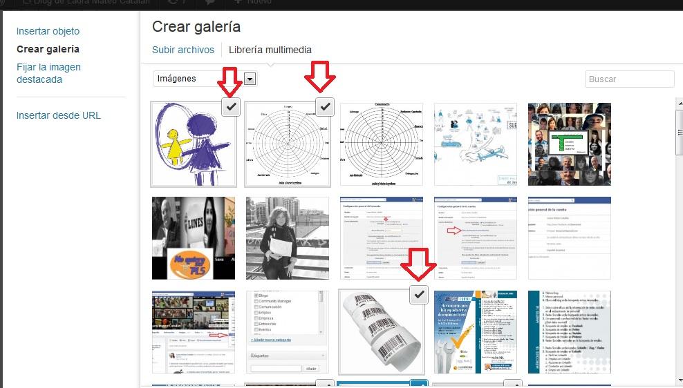 seleccionar imágenes para galería en wordpress