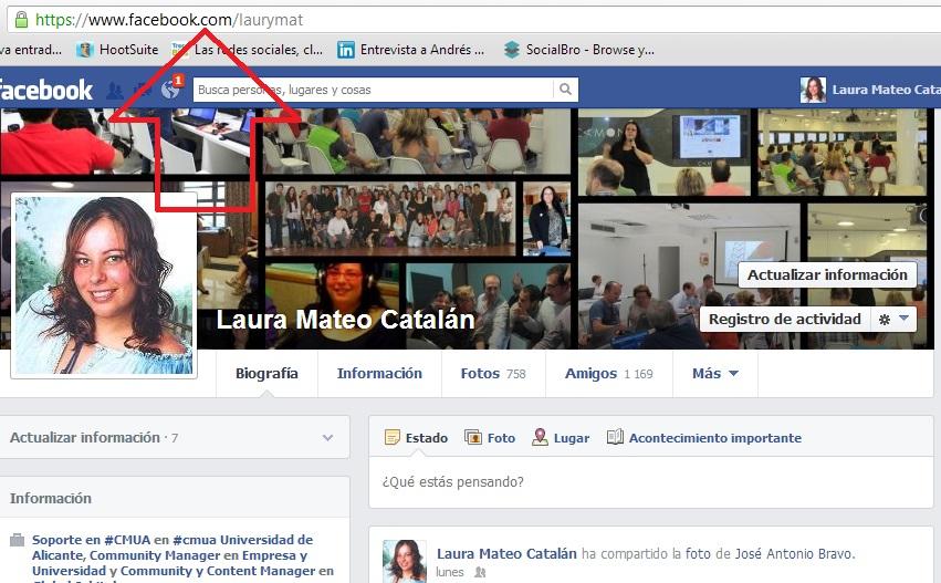 Página de Facebook de Laura Mateo Catalán con URL personalizada