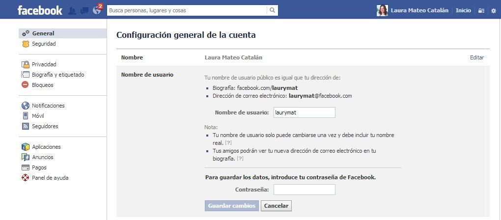Personalizar la URL en Facebook