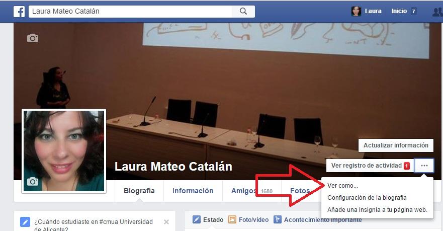 preserva tu privacidad en facebook con el ver como