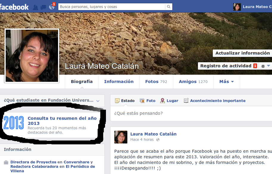 Resumen del año 2013 en Facebook