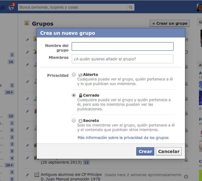 grupo abierto, cerrado y secreto en Facebook