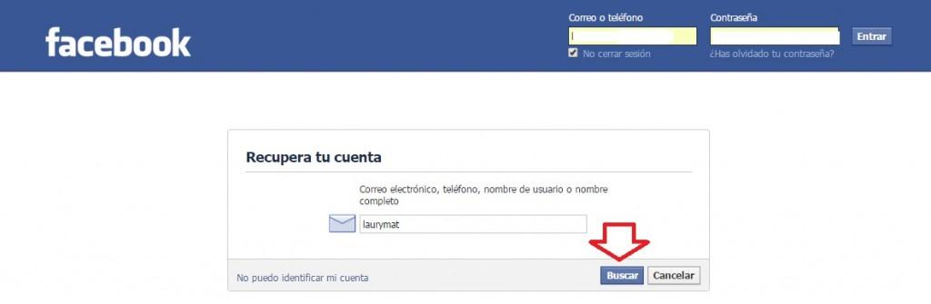 Recuperar el mail de Facebook. Paso 2.