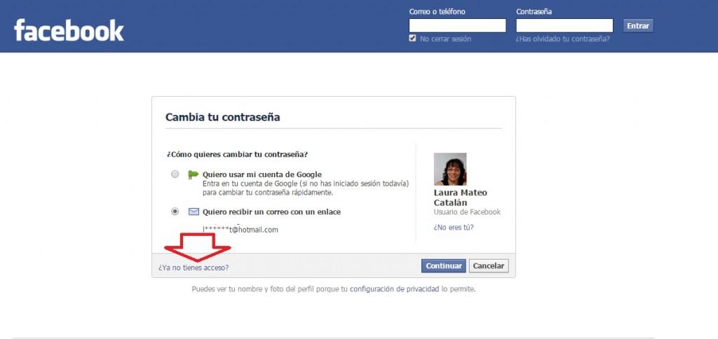 Recuperar el mail de Facebook. Paso 3.