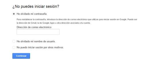 paso2. Recuperar contraseña gmail