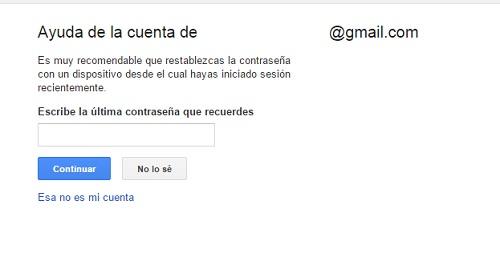 paso3. Recuperar contraseña gmail